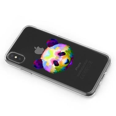 Lopard iPhone Xs Max Kılıf Silikon Arka Koruma Kapak Renkli Panda Desenli Renkli